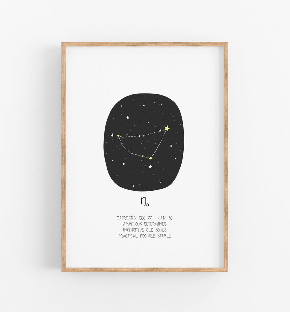 capricorn zodiac print with black circle, constellations and a description of an Capricorn underneath in a teak frame