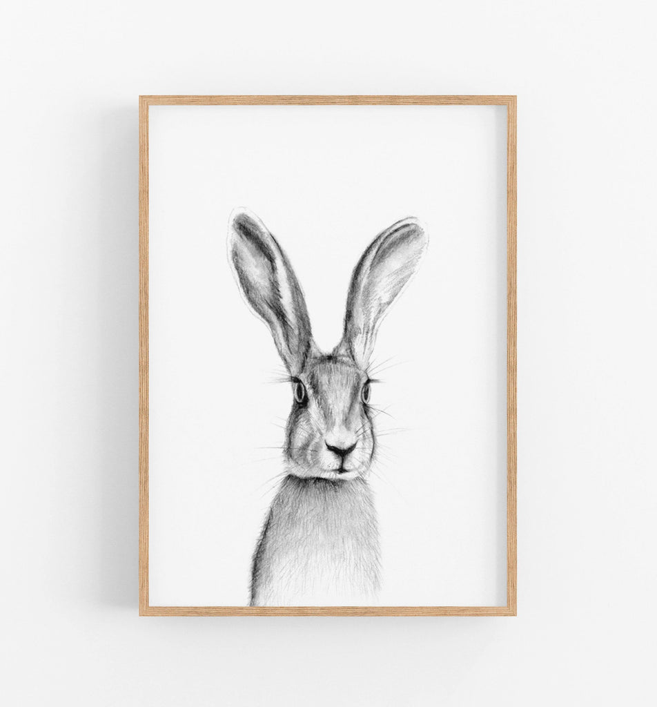 black and white rabbit wall art print