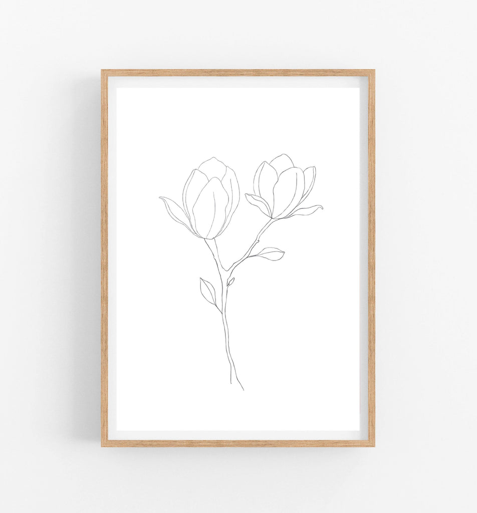 black and white botanical art print