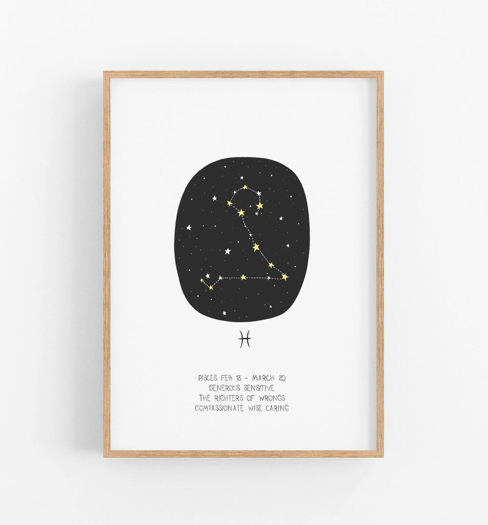 Pisces zodiac print with black circle, constellations and a description of an Pisces underneath in a teak frame