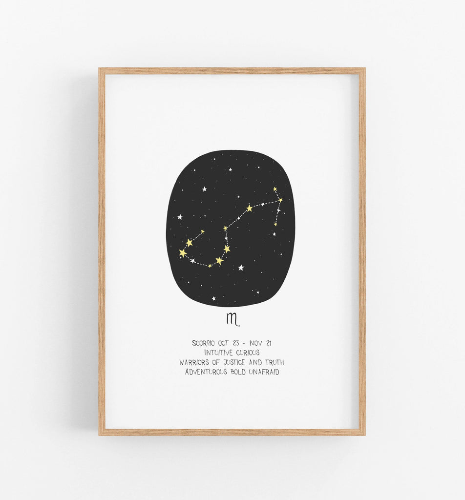 Scorpio zodiac print with black circle, constellations and a description of an Scorpio underneath in a teak frame