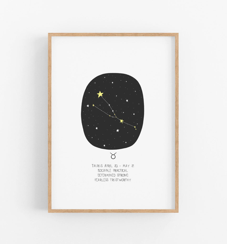 Taurus zodiac print with black circle, constellations and a description of an taurus underneath in a teak frame