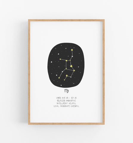 Virgo zodiac print with black circle, constellations and a description of an virgo underneath in a teak frame