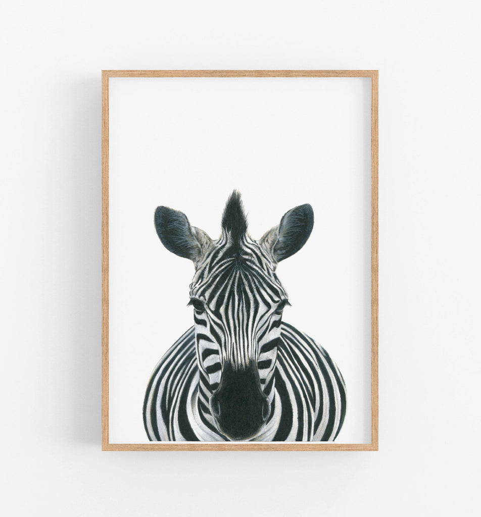 zebra art print in a timber frame