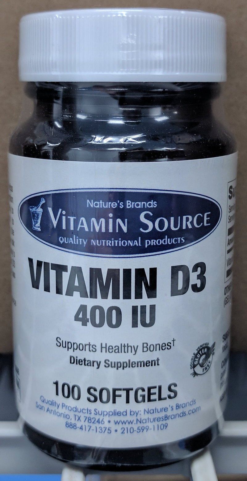 Vitamin Source Vitamin D3 400 IU 100 Softgels - Vitamin Source Vitamin D3 400 IU 100 Softgels - Vitamin Source Vitamin D3 400 IU 100 Softgels