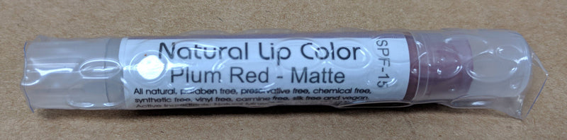 Bella Mari Natural Lip Color; 0.1floz - Bella Mari Natural Lip Color; 0.1floz - Plum Red Matte