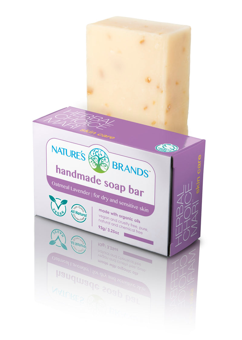 Herbal Choice Mari Natural Handmade Soap Bar, Oatmeal Lavender; 3.2oz - Herbal Choice Mari Natural Handmade Soap Bar, Oatmeal Lavender; 3.2oz - Herbal Choice Mari Natural Handmade Soap Bar, Oatmeal Lavender; 3.2oz