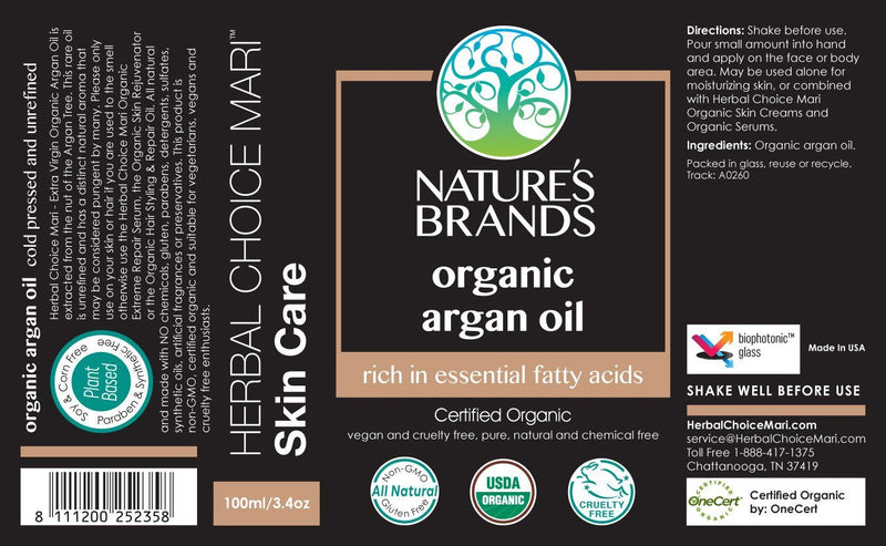 Herbal Choice Mari Organic Argan Oil; 3.4floz Glass - Herbal Choice Mari Organic Argan Oil; 3.4floz Glass - Herbal Choice Mari Organic Argan Oil; 3.4floz Glass