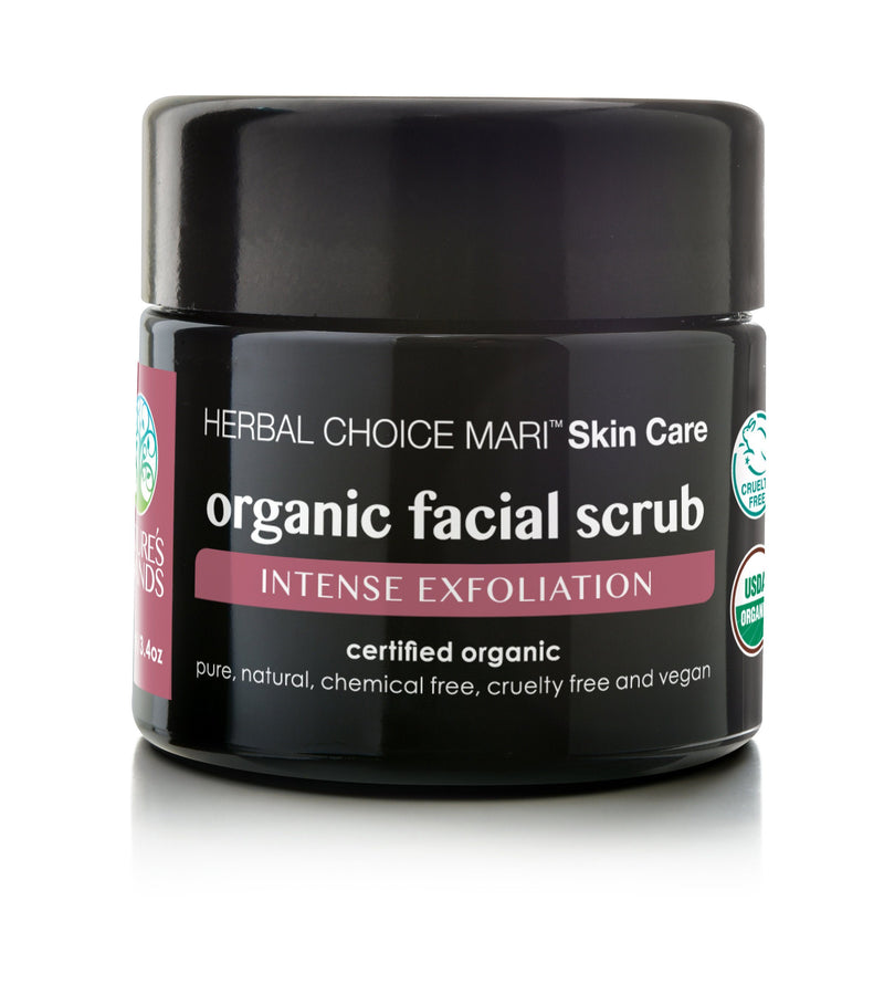 Herbal Choice Mari Organic Facial Scrub, Intense Exfoliation - Herbal Choice Mari Organic Facial Scrub, Intense Exfoliation - 3.4floz