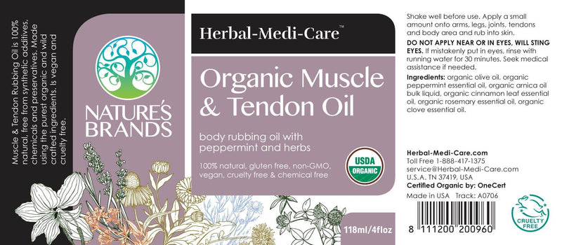 Herbal-Medi-Care Organic Muscle & Tendon (Inflammation & Soreness) Oil; 4floz - Herbal-Medi-Care Organic Muscle & Tendon (Inflammation & Soreness) Oil; 4floz - Herbal-Medi-Care Organic Muscle & Tendon (Inflammation & Soreness) Oil; 4floz