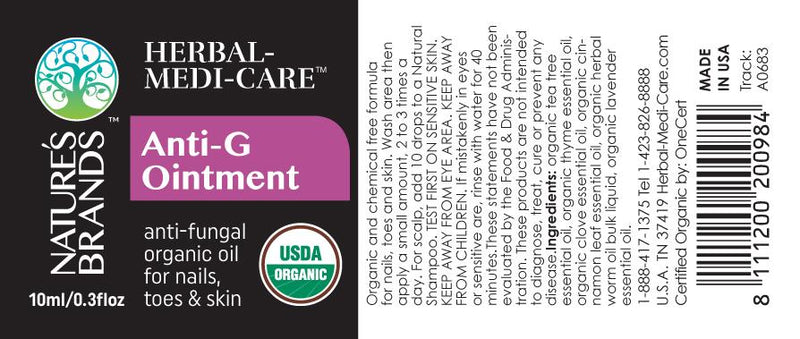 Herbal-Medi-Care Organic Anti-G (Fungal) Ointment; 0.3floz - Herbal-Medi-Care Organic Anti-G (Fungal) Ointment; 0.3floz - Herbal-Medi-Care Organic Anti-G (Fungal) Ointment; 0.3floz