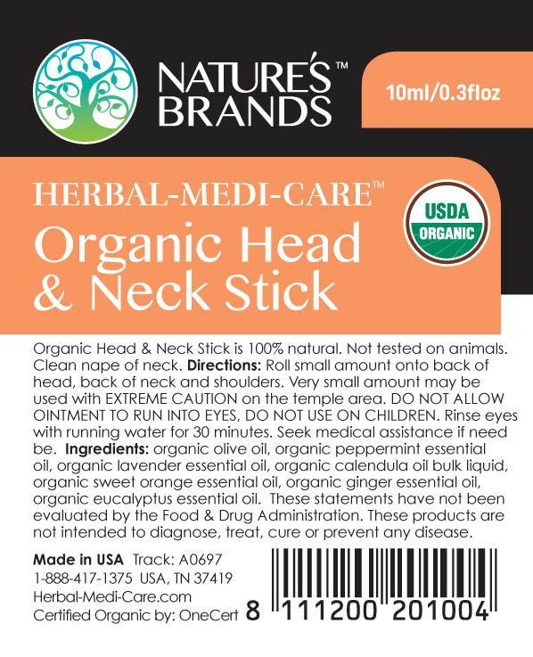 Herbal-Medi-Care Organic Head & Neck (Headache) Stick; 0.3floz - Herbal-Medi-Care Organic Head & Neck (Headache) Stick; 0.3floz - Herbal-Medi-Care Organic Head & Neck (Headache) Stick; 0.3floz