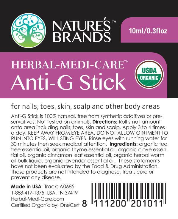 Herbal-Medi-Care Organic Anti-G (Anti-Fungal) Stick; 0.3floz - Herbal-Medi-Care Organic Anti-G (Anti-Fungal) Stick; 0.3floz - Herbal-Medi-Care Organic Anti-G (Anti-Fungal) Stick; 0.3floz