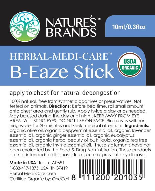 Herbal-Medi-Care Organic B-Eaze (Congestion) Stick; 0.3floz - Herbal-Medi-Care Organic B-Eaze (Congestion) Stick; 0.3floz - Herbal-Medi-Care Organic B-Eaze (Congestion) Stick; 0.3floz