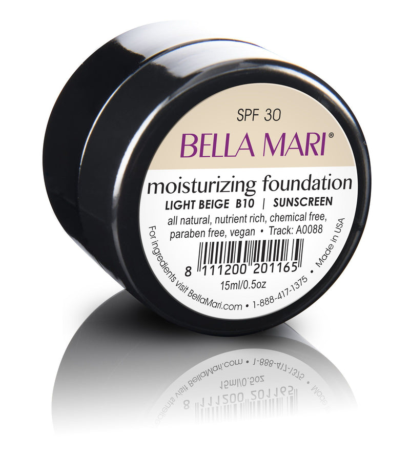 Bella Mari Natural Moisturizing Foundation - Bella Mari Natural Moisturizing Foundation - Small Size (15ml/0.5floz) Glass Jar Light Beige