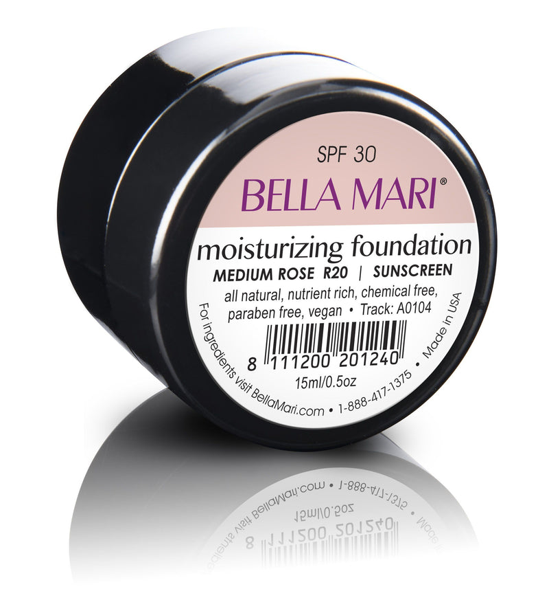 Bella Mari Natural Moisturizing Foundation - Bella Mari Natural Moisturizing Foundation - 0.5floz Glass Jar Medium Rose