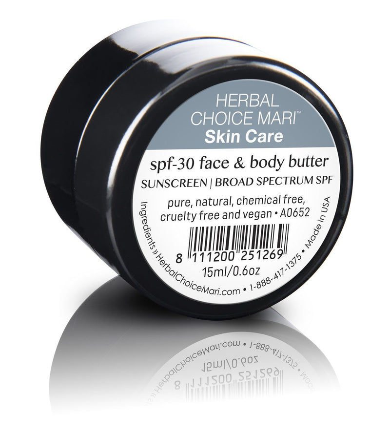Herbal Choice Mari Natural SPF 30 Face And Body Butter, Unscented - Herbal Choice Mari Natural SPF 30 Face And Body Butter, Unscented - 0.5floz