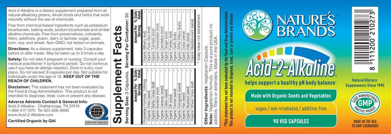 Acid-2-Alkaline Whole Food Alkalizing Vegetarian Capsules; 90-Count, Made with Organic - Acid-2-Alkaline Whole Food Alkalizing Vegetarian Capsules; 90-Count, Made with Organic - Acid-2-Alkaline Whole Food Alkalizing Vegetarian Capsules; 90-Count, Made with Organic