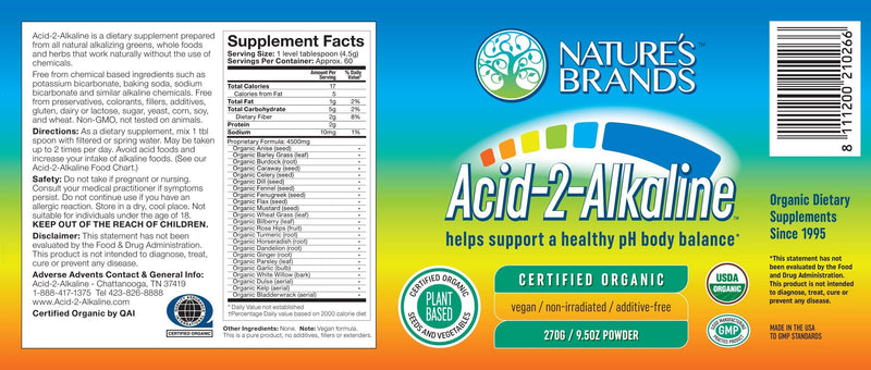 Acid-2-Alkaline Organic Whole Food Alkalizing Powder; 270g/9.6oz - Acid-2-Alkaline Organic Whole Food Alkalizing Powder; 270g/9.6oz - Acid-2-Alkaline Organic Whole Food Alkalizing Powder; 270g/9.6oz