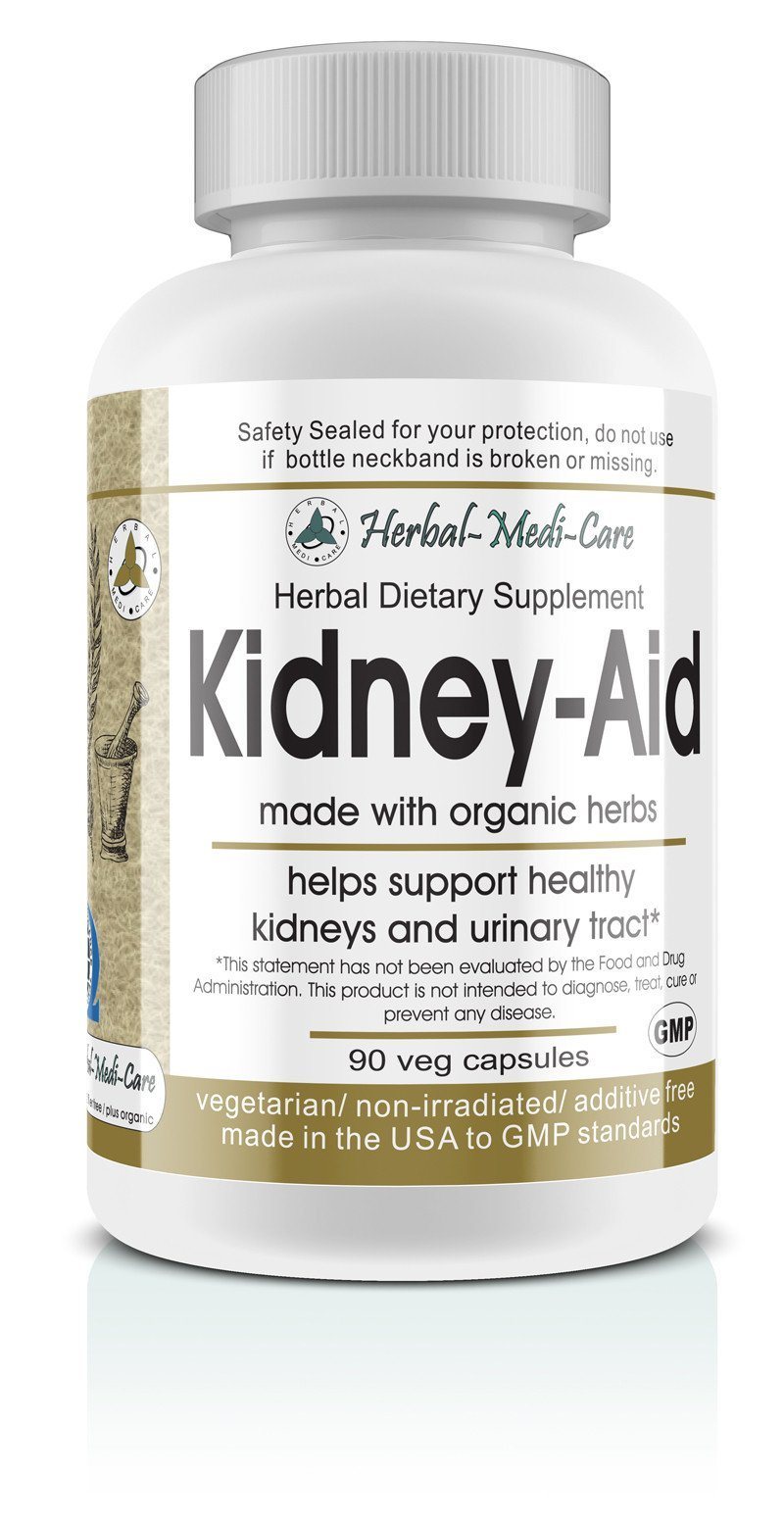 Herbal-Medi-Care Whole Food Kidney-Aid Vegetarian Capsules; 90-Count, Made with Organic - Herbal-Medi-Care Whole Food Kidney-Aid Vegetarian Capsules; 90-Count, Made with Organic - Herbal-Medi-Care Whole Food Kidney-Aid Vegetarian Capsules; 90-Count, Made with Organic