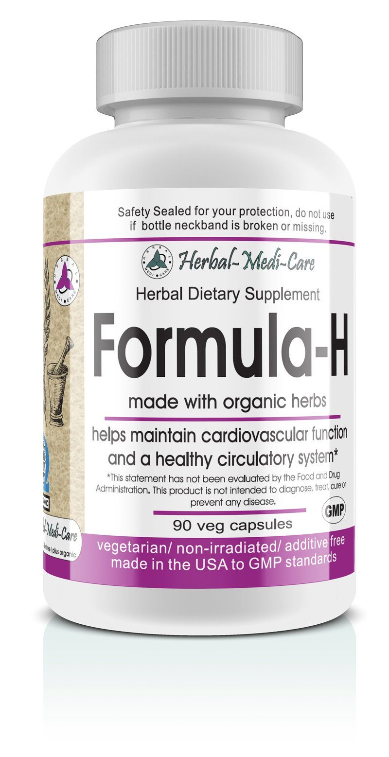 Herbal-Medi-Care Whole Food Formula-H (Blood Pressure) Vegetarian Capsules; 90-Count, Made with Organic - Herbal-Medi-Care Whole Food Formula-H (Blood Pressure) Vegetarian Capsules; 90-Count, Made with Organic - Herbal-Medi-Care Whole Food Formula-H (Blood Pressure) Vegetarian Capsules; 90-Count, Made with Organic