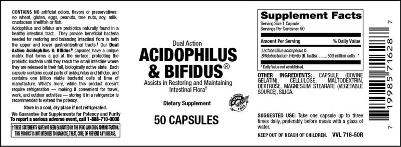 Vitamin Source Dual Action Acidophilus & Bifidus 100 Capsules - Vitamin Source Dual Action Acidophilus & Bifidus 100 Capsules - Vitamin Source Dual Action Acidophilus & Bifidus 100 Capsules