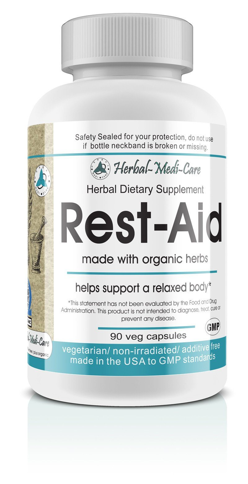 Herbal-Medi-Care Whole Food Rest-Aid (Stress & Sleep) Vegetarian Capsules; 90-Count, Made with Organic - Herbal-Medi-Care Whole Food Rest-Aid (Stress & Sleep) Vegetarian Capsules; 90-Count, Made with Organic - Herbal-Medi-Care Whole Food Rest-Aid (Stress & Sleep) Vegetarian Capsules; 90-Count, Made with Organic