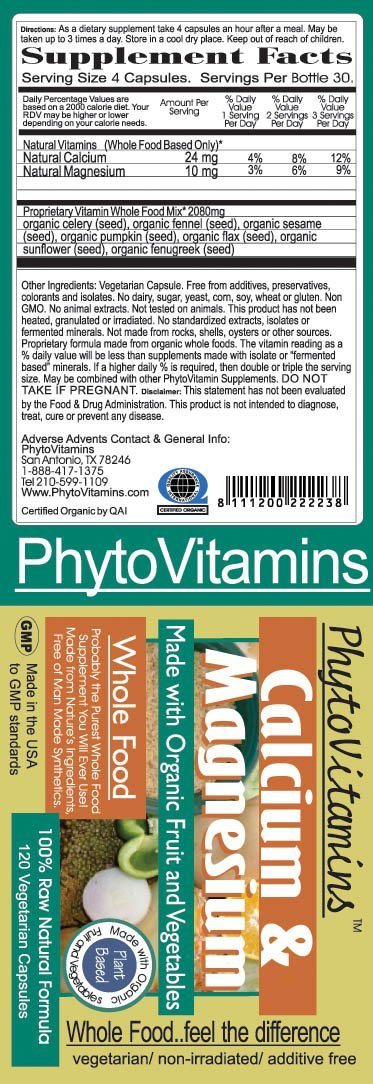 PhytoVitamins Whole Food Calcium And Magnesium Vegetarian Capsules; 120-Count, Made with Organic - PhytoVitamins Whole Food Calcium And Magnesium Vegetarian Capsules; 120-Count, Made with Organic - PhytoVitamins Whole Food Calcium And Magnesium Vegetarian Capsules; 120-Count, Made with Organic