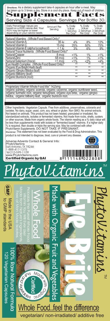 PhytoVitamins Whole Food Eye Brite Vegetarian Capsules; 120-Count, Made with Organic - PhytoVitamins Whole Food Eye Brite Vegetarian Capsules; 120-Count, Made with Organic - PhytoVitamins Whole Food Eye Brite Vegetarian Capsules; 120-Count, Made with Organic