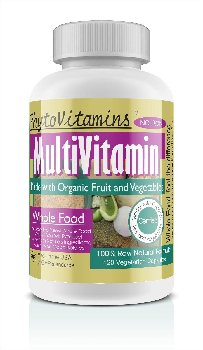 PhytoVitamins Iron Free Whole Food MultiVitamin Vegetarian Capsules; 120-Count, Made with Organic - PhytoVitamins Iron Free Whole Food MultiVitamin Vegetarian Capsules; 120-Count, Made with Organic - PhytoVitamins Iron Free Whole Food MultiVitamin Vegetarian Capsules; 120-Count, Made with Organic