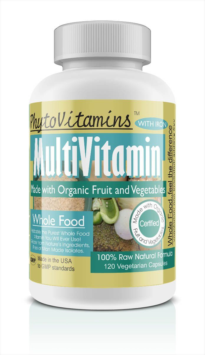 PhytoVitamins Whole Food MultiVitamin + Iron Vegetarian Capsules; 120-Count, Made with Organic - PhytoVitamins Whole Food MultiVitamin + Iron Vegetarian Capsules; 120-Count, Made with Organic - PhytoVitamins Whole Food MultiVitamin + Iron Vegetarian Capsules; 120-Count, Made with Organic