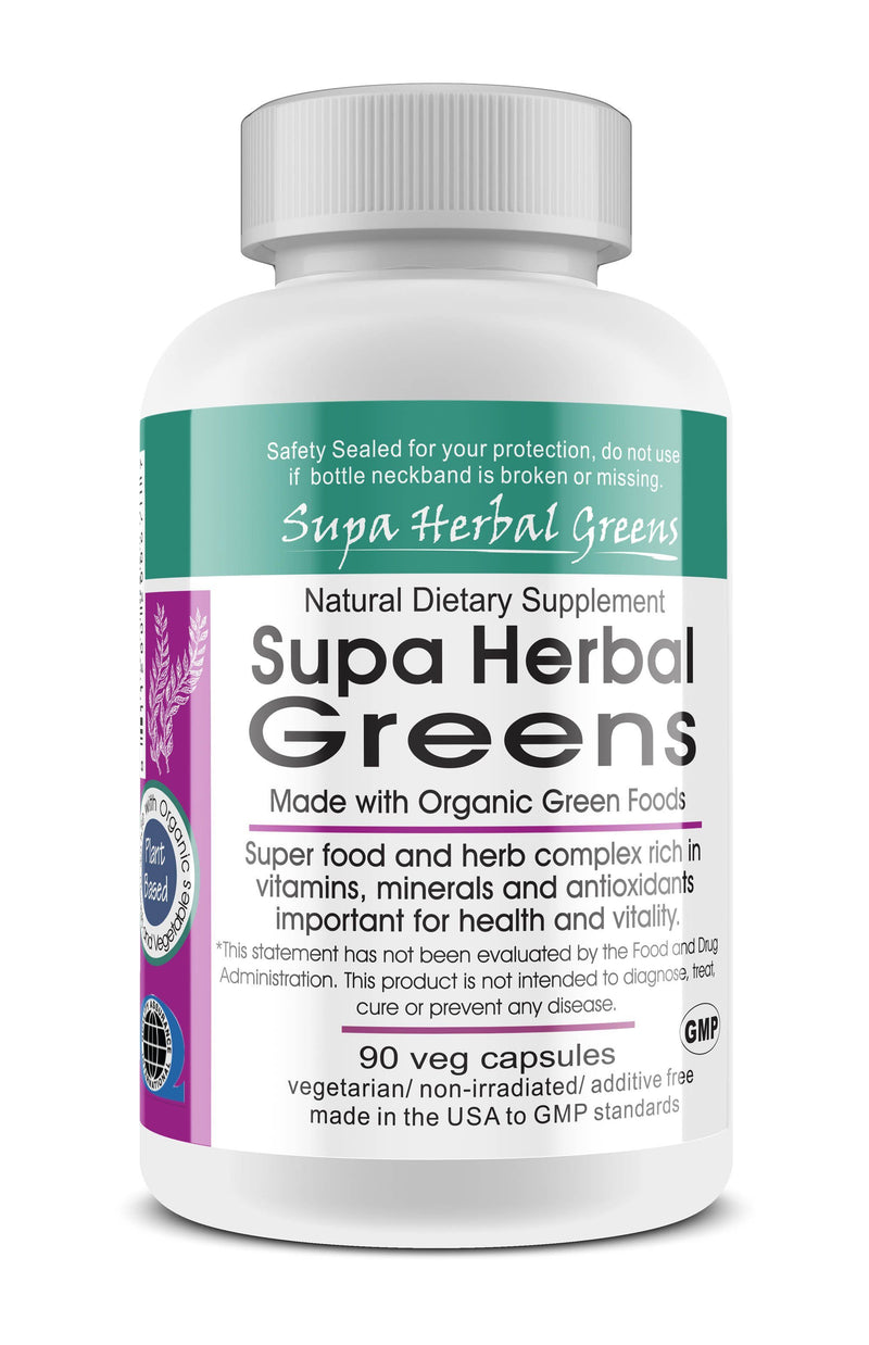 Supa Herbal Greens Whole Food Vegetarian Capsules; 90-Count, Made with Organic - Supa Herbal Greens Whole Food Vegetarian Capsules; 90-Count, Made with Organic - Supa Herbal Greens Whole Food Vegetarian Capsules; 90-Count, Made with Organic