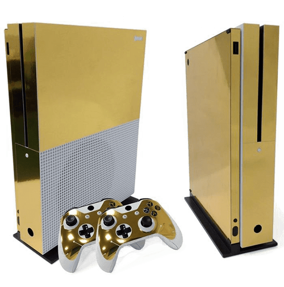 Xbox One S Gold-Chrome Design-Skin + 2 Controller Gold-Chrome Design-Skins