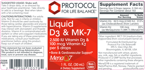 Liquid Vitamin D3 & MK-7: 1 fl oz