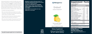 Endura Hydrate & Replenish Lemonade: 30 packets