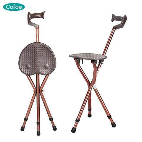 Folding aluminum lightweight & adjustable portable chair and walking stick