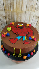 Muscular Elmo - 1 Year Old First Birthday Cake - Silver Rose Bakery