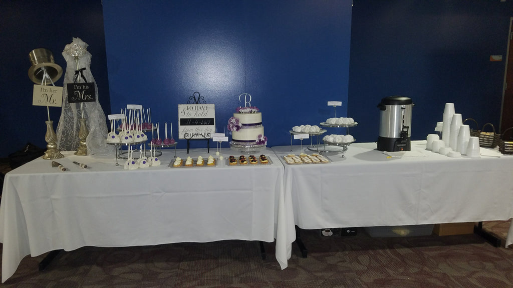 mini dessert table with wedding cake and coffee service by Silver Rose Bakery