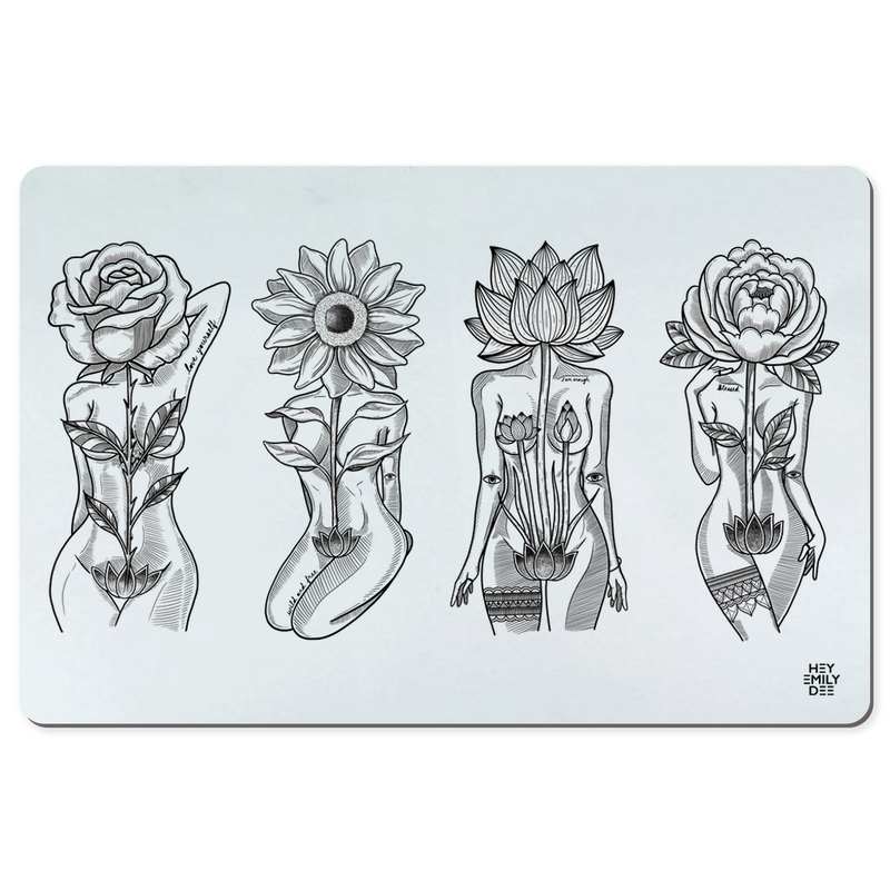 Flower Head Goddesses Desk Mat