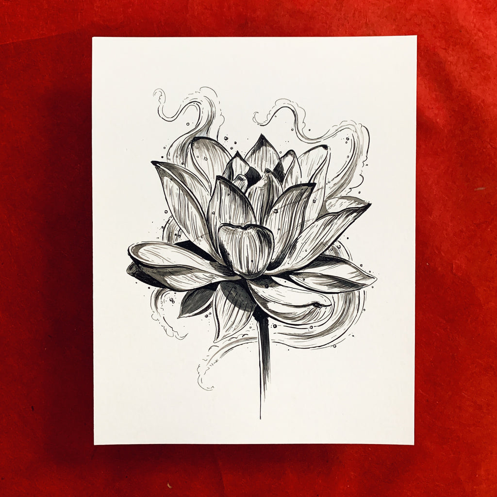 Lotus Ink Original Drawing