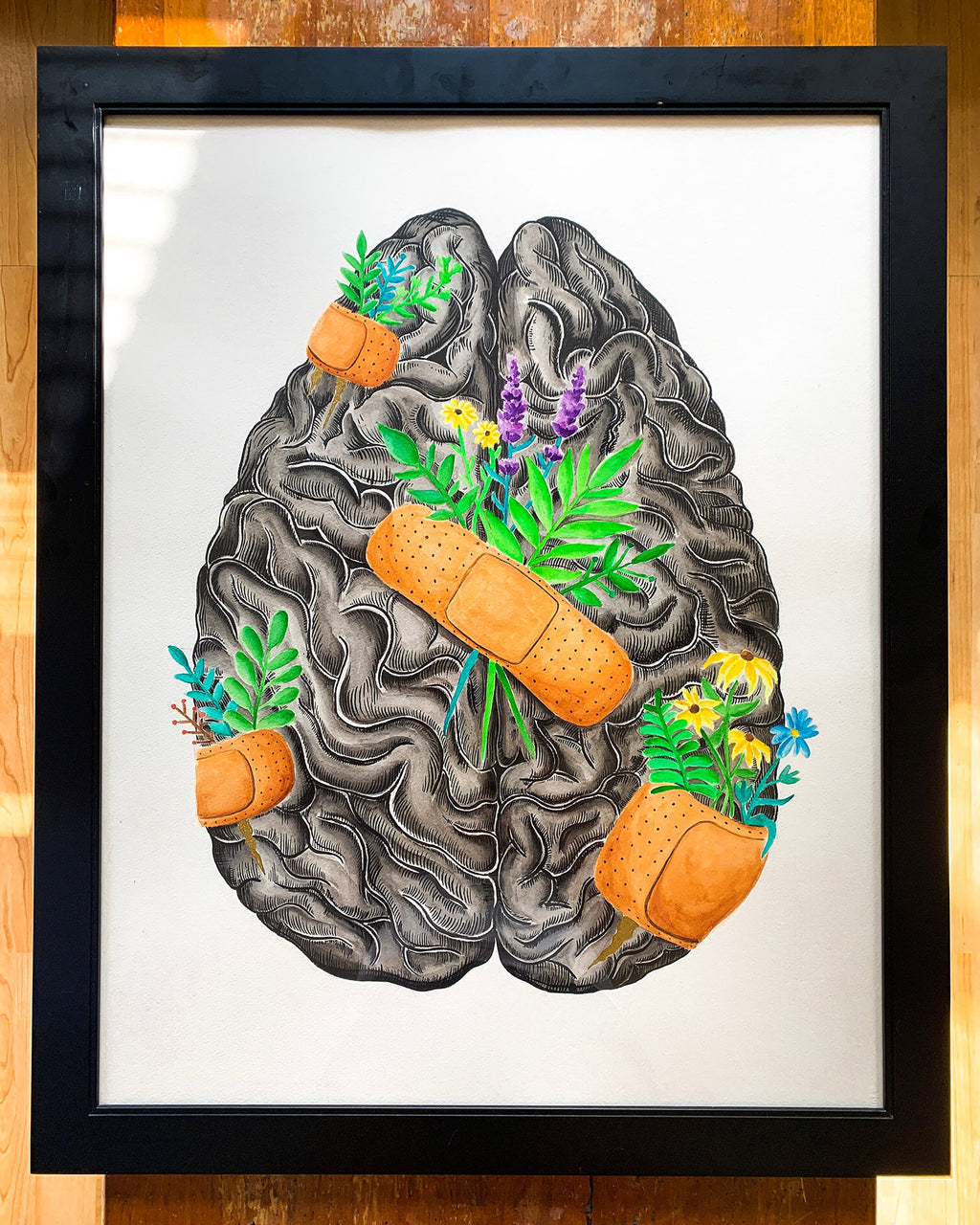 Healing Brain Original Watercolor Painting
