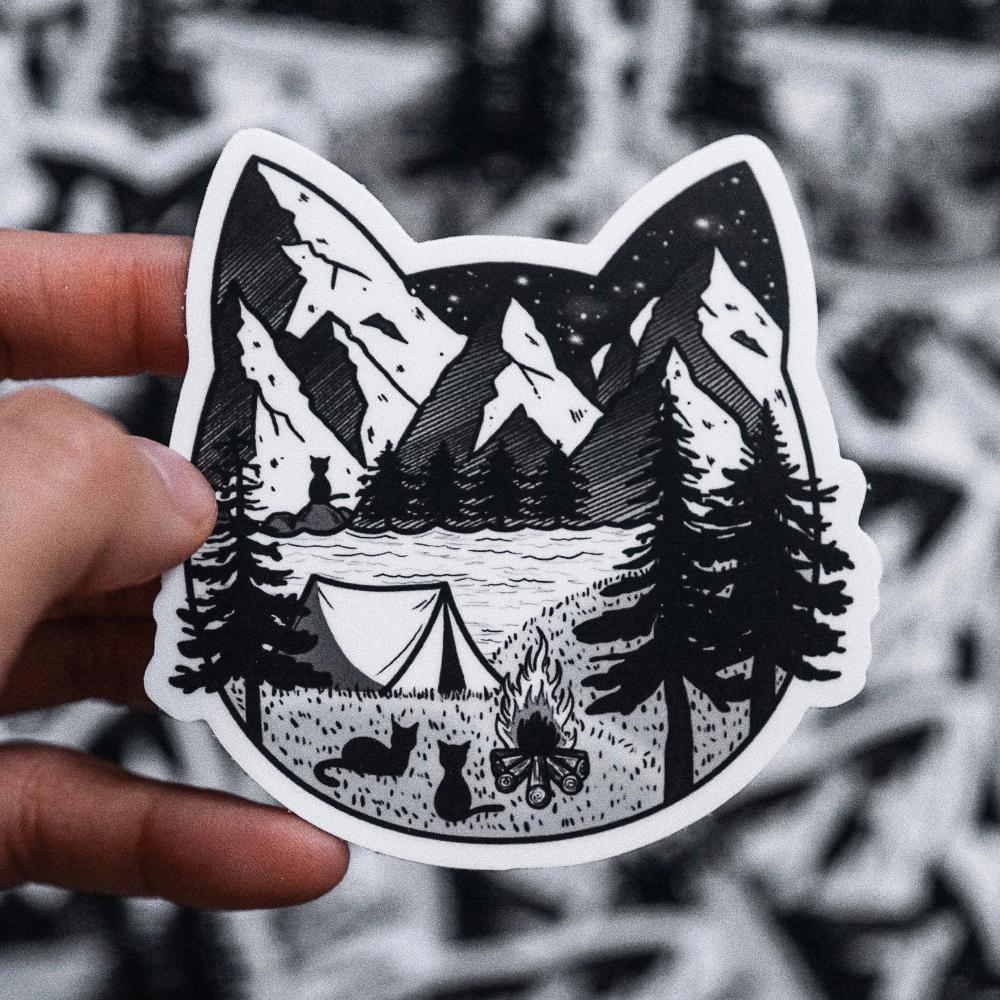 Camping Cat Sticker
