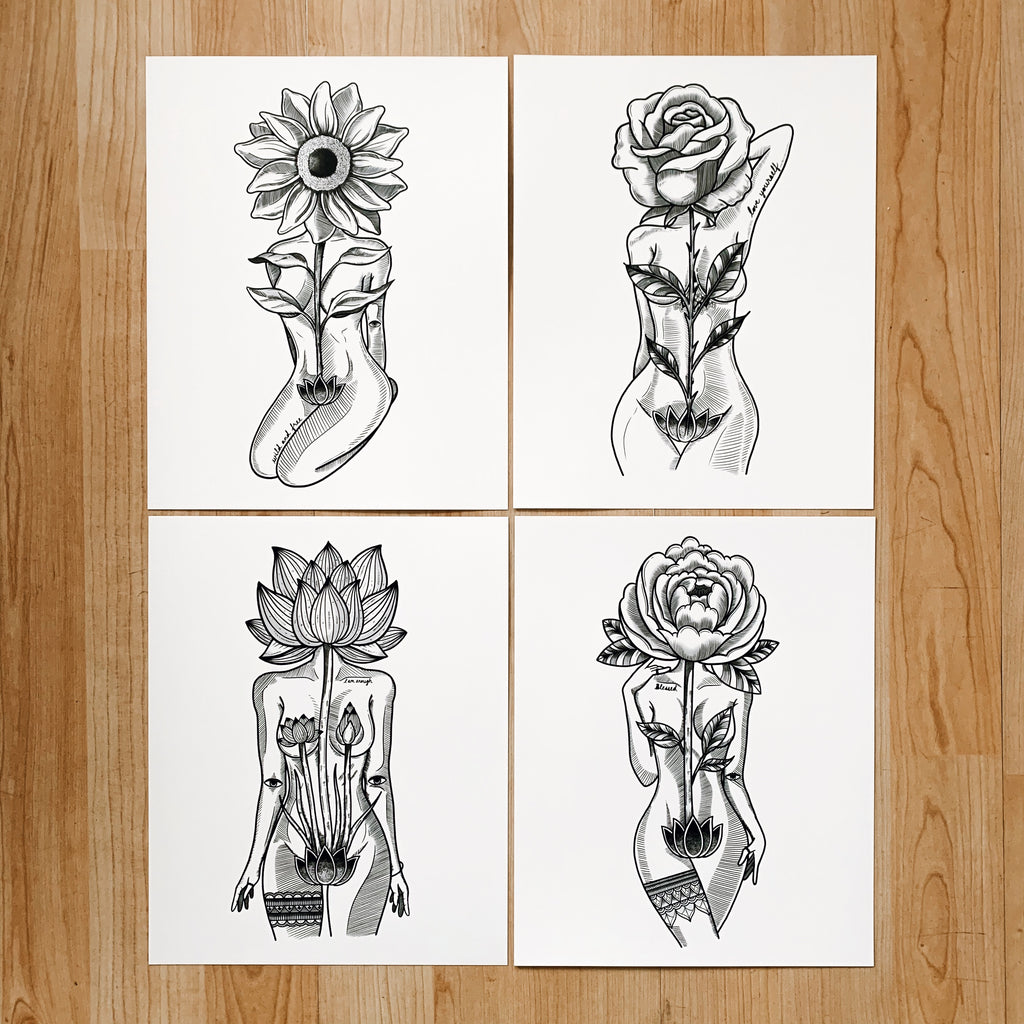 Flower Head Goddess (Set of 4 Prints)