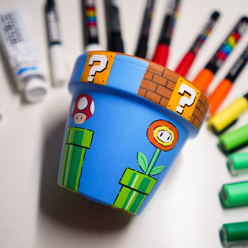 Super Mario Hand Painted Clay Pot