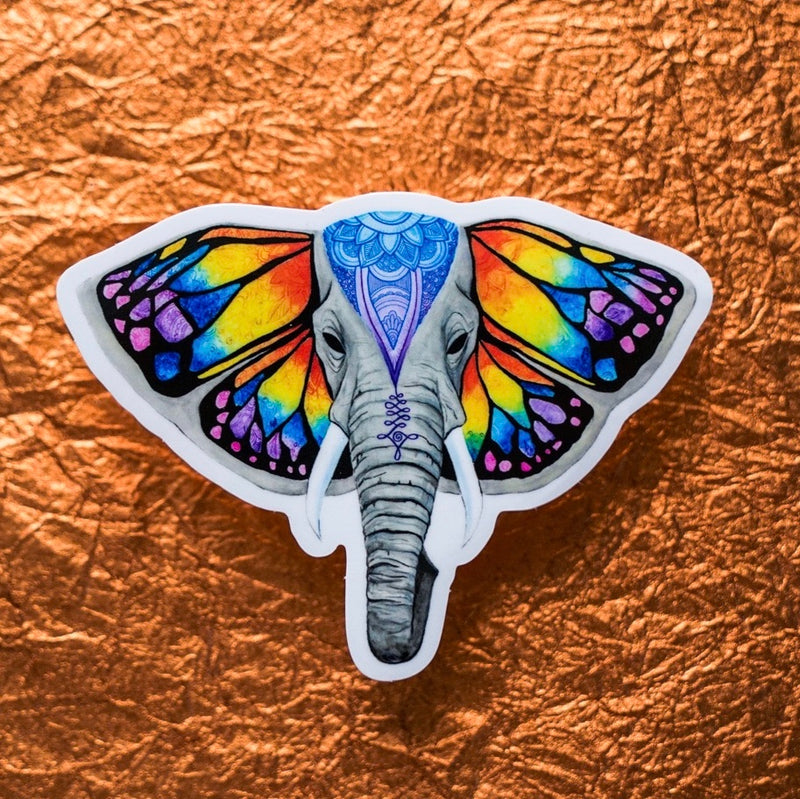 Elephant Butterfly Sticker