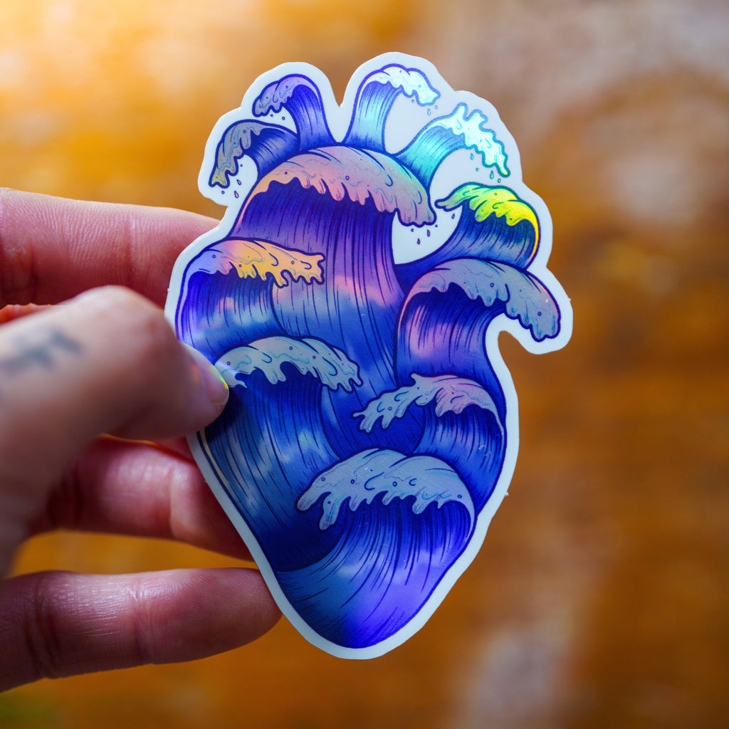 Wave Heart Sticker