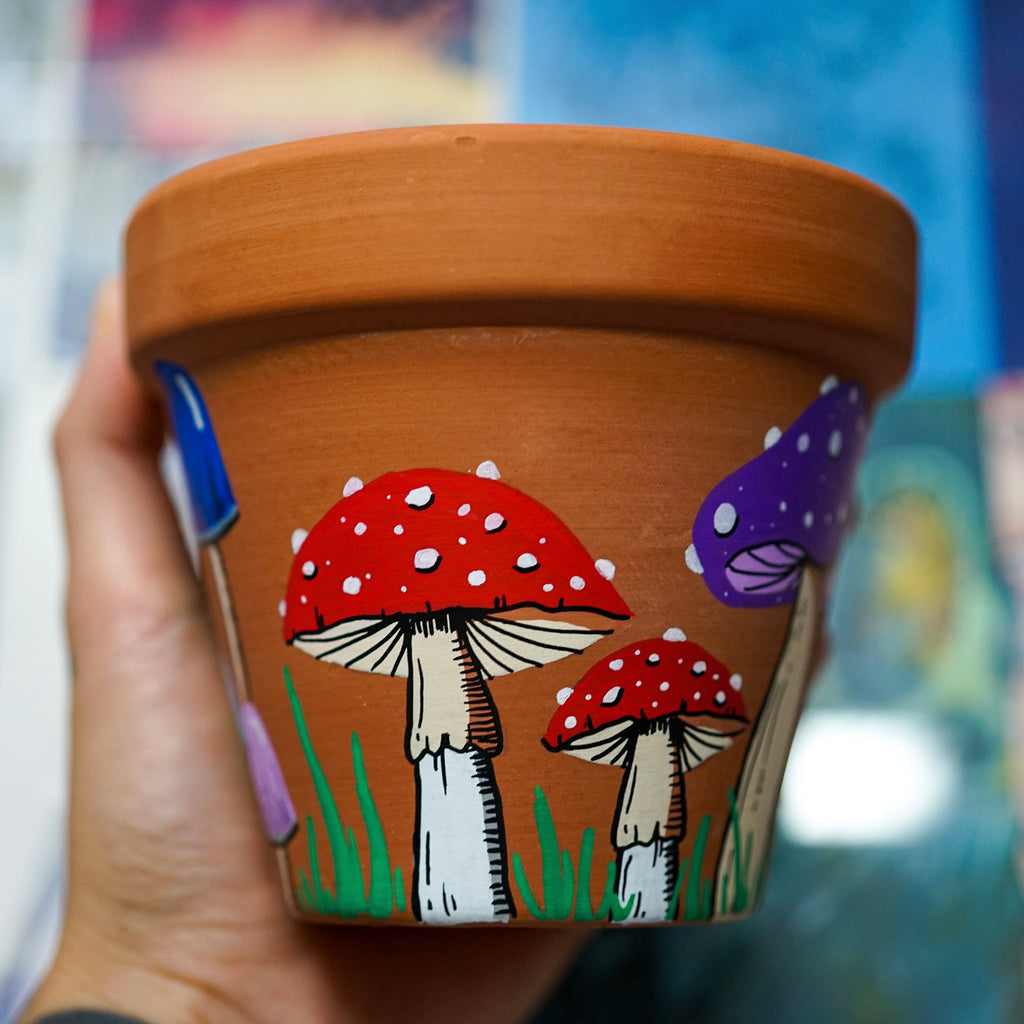 Mushrooms Hand Painted Clay Pot