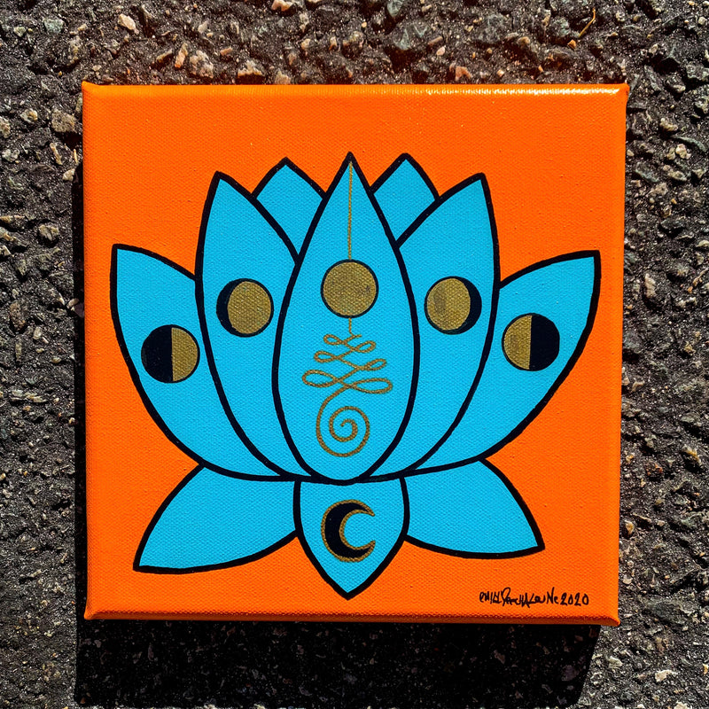 Teal Lotus Painting