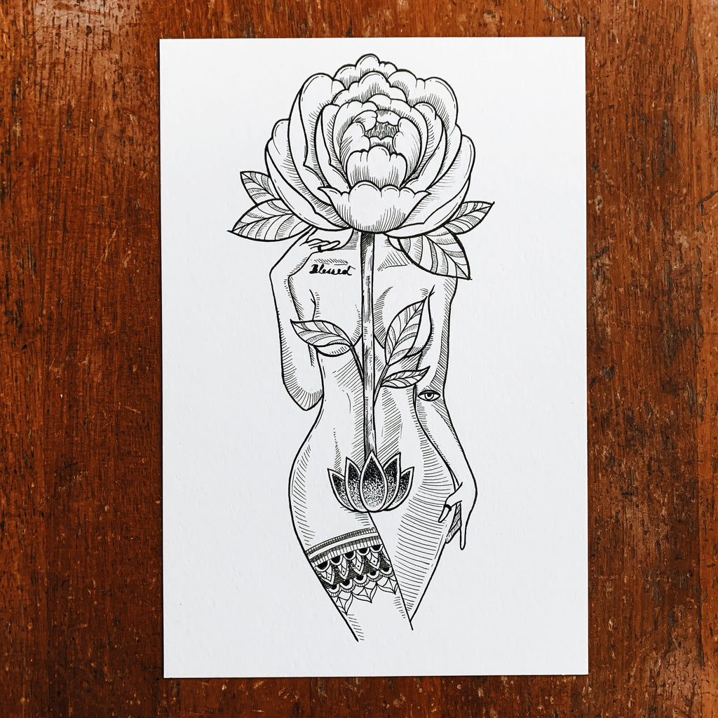 Peony Goddess Original Drawing
