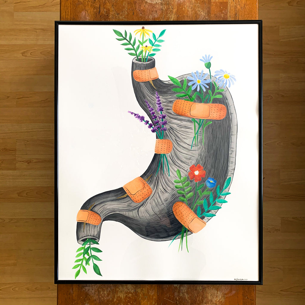 Healing Stomach Original Watercolor Painting